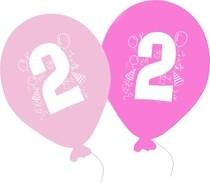 Balonky narozeniny 5ks s číslem 2 pro holky