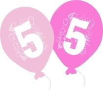 Balonky narozeniny 5ks s číslem 5 pro holky
