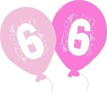 Balonky narozeniny 5ks s číslem 6 pro holky