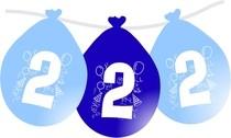 Balonky narozeniny číslo 2, visící 5ks modré