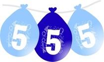 Balonky narozeniny číslo 5, visící 5ks modré