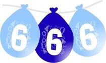 Balonky narozeniny číslo 6, visící 5ks modré