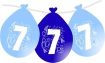 Balonky narozeniny číslo 7, visící 5ks modré