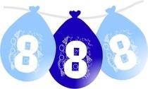 Balonky narozeniny číslo 8, visící 5ks modré