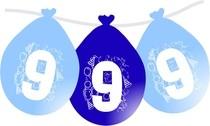 Balonky narozeniny číslo 9, visící 5ks modré