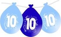 Balonky narozeniny číslo 10, visící 5ks modré
