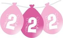 Balonky narozeniny číslo 2, visící 5ks růžové