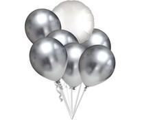 Balónky chromové stříbrný a bílý balónek kruh set