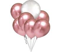 Balónky chromové růžovo-zlaté a bílý kruh set