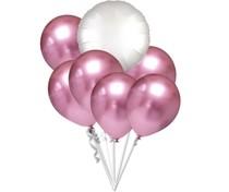 Balónky chromové růžové a bílý kruh set