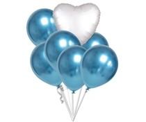 Balónky chromové modré a bílé srdce set