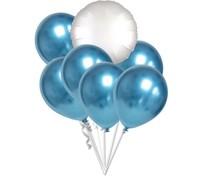 Balónky chromové modré a bílý kruh set