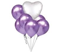 Balónky chromové fialové a bílé srdíčko set