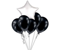 Balónky chromové černé grafitové a bílá hvězda set
