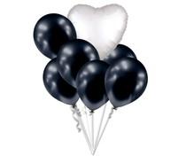 Balónky chromové černé grafitové a bílé srdíčko set
