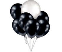 Balónky chromové černé grafitové a bílý kruh set