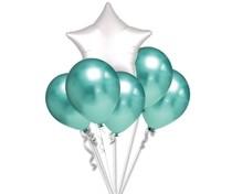 Balónky chromové zelené a bílá hvězda set