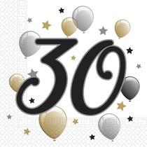 Ubrousky číslo 30 narozeniny 20 ks 33 cm x 33 cm