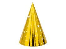 Čepičky zlaté s hvězdičkami 6 ks 16 cm