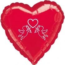 Srdíčko červený balónek s andílkem