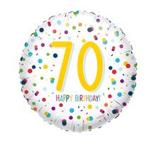 70. narozeniny balónek konfety 43 cm