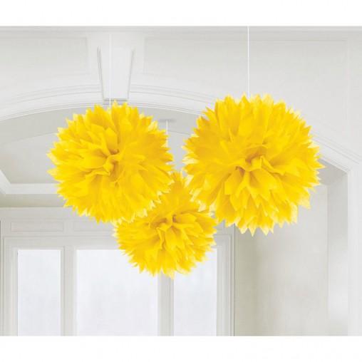 Závěsné dekorace žluté 3 ks 40,6 cm