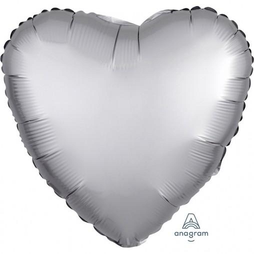 Balónek srdce foliové satén stříbrné