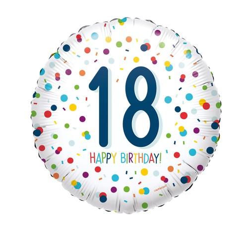 Balónek 18. narozeniny s puntíky 43 cm