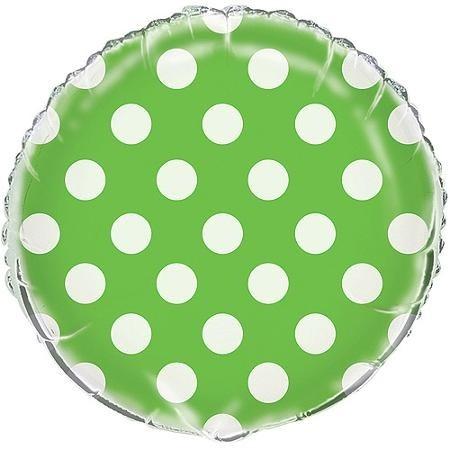 Fóliový balónek zeleno - bílé tečky 45cm
