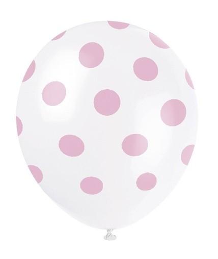 Balónky bílé s puntíky světle růžové 6ks