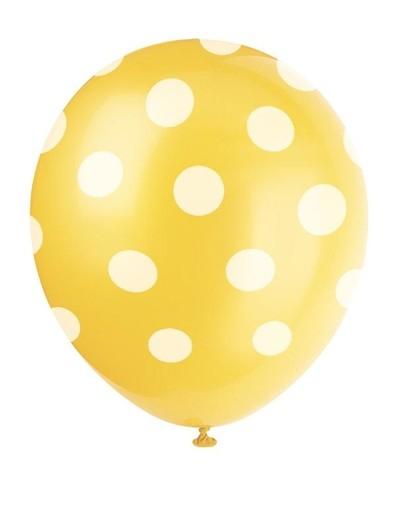 Balónky žluté s puntíky 6ks
