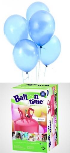 Helium Balloon time + balónky Sky Blue 30ks