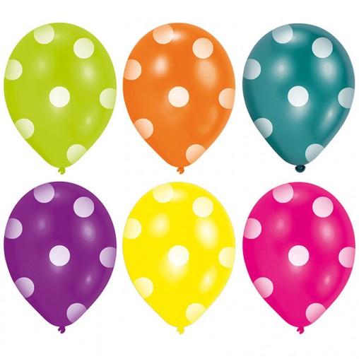 Balonky tečky mix 6 ks 22,8 cm