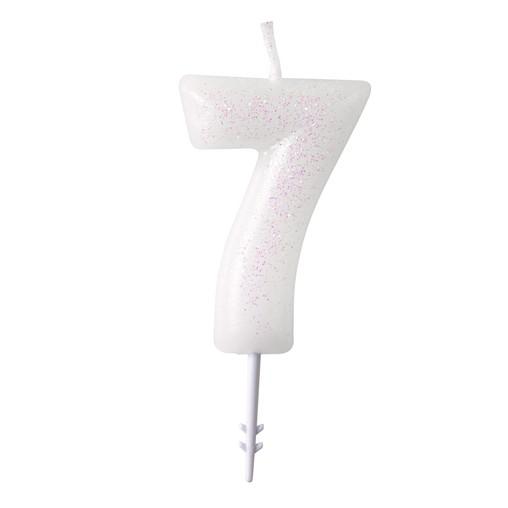Dortová svíčka číslo 7 bílá s glitry Amscan